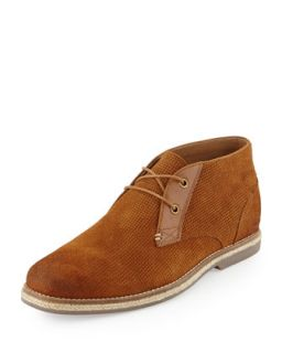 Cade Perforated Suede Chukka Boot, Tan