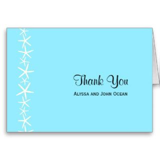 Starfish on Aqua Personalized Thank You Note Cards