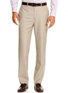 Calvin Klein CK Body Mens Flat Front Slim Fit Dress Pants Tan Sharkskin Trousers at  Men's Clothing store