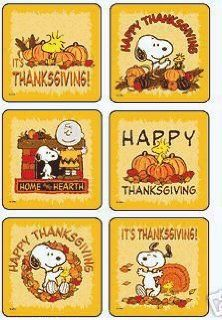 Peanuts Snoopy, Woodstock, Charlie Brown   Large Thanksgiving Stickers Toys & Games