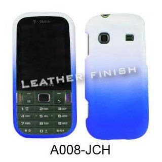 RUBBER COATED HARD CASE FOR SAMSUNG GRAVITY TXT T379 RUBBERIZED TWO COLOR WHITE BLUE Cell Phones & Accessories