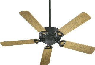 Quorum International 143525 59 Estate Patio Ceiling Fan with Medium Oak ABS Blades, 52 Inch, Matte Black Finish