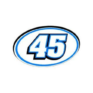 45 Number Jersey Racing   Blue   Window Bumper Sticker Automotive