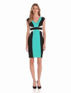 Maggy London Women's Colorblock Scuba Dress, Tile Blue, 6