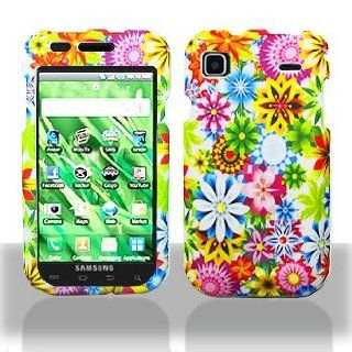 Multi Color Flowers Garden Snap on Rubberized Hard Skin Shell Protector Cover Case for Samsung Vibrant Galaxy S Galaxys T959 + Microfiber Pouch Bag + Case Opener Pick Cell Phones & Accessories