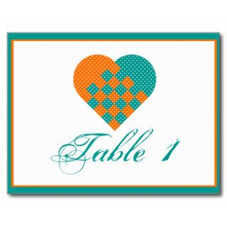 Turquoise Orange Ribbon Heart Wedding Table Number Post Cards
