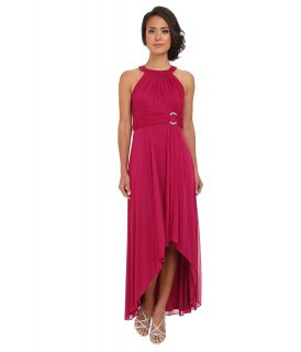 Jessica Howard Sleeveless Shirred Halter Neck Ruched Waist Dress w/ Hi Low Skirt Rhinestone Buckle Womens Dress (Red)