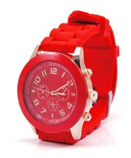 Neverland 15 Colors Unisex Geneva Silicone Jelly Gel Quartz Analog Sports Watch Red   Best Present for Kid Boy Girl Clothing