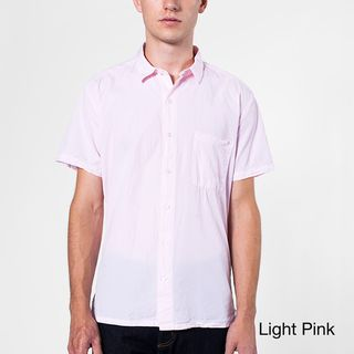 American Apparel Men's Italian Cotton Short Sleeve Button Up American Apparel Casual Shirts