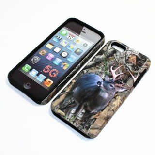 APPLE IPHONE 5 MOSSY TREE OAK CAMO CAMOUFLAGE HUNTER WILD DEER HYBRID TWO IN ONE CASE SOFT RUBBER INSIDE AND HARD RUBBERIZED PLASTIC OUTER COVER Cell Phones & Accessories