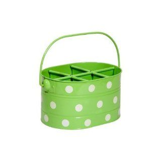 Home Essentials Green Polka Dot Metal Six section Utensil / Flatware Caddy   Picnic BBQ   Flatware Organizers