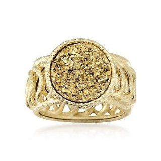 Italian Golden Drusy Circle Link Ring in 14kt Yellow Gold. Size 9 Jewelry Products Jewelry