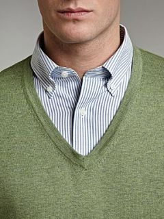 Lands End Men`s fine gauge v neck Green