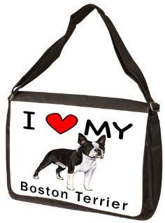 I Love My Boston Terrier Laptop Bag   Shoulder Bag   Messenger Bag Computers & Accessories