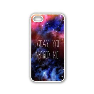 Quote   Today You Inspired Me Space Galaxy iPhone 5 White Case   For iPhone 5/5G White Designer Plastic Snap On Case Cell Phones & Accessories