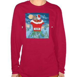 Funny Santa Claus Christmas Humor How's My Flying T shirts