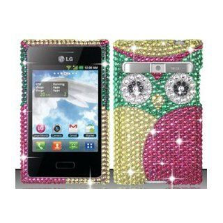 LG Optimus Logic L35g / Dynamic L38c (StraightTalk/Net 10) Pink Owl Bling Rhinestone Diamond Design Hard Case Snap On Protector Cover + Free American Flag Pin Cell Phones & Accessories