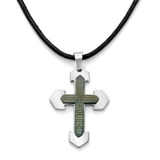 PalmBeach Jewelry Men's Stainless Steel Black ION Plated Lord's Prayer Cross Pendant and Cord Necklaces Jewelry