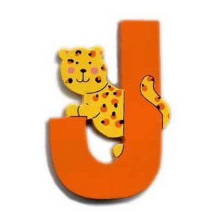 Wooden Jaguar Letter J Magnet by The Toy Workshop Refrigerator Magnets Kitchen & Dining