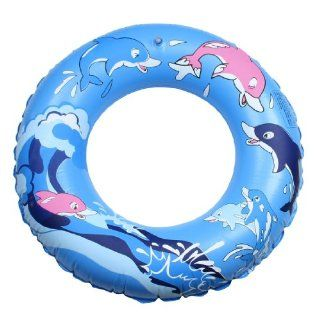 Cartoon Dolphin Pattern Inflatable Swimming Ring Blue for Children Toys & Games
