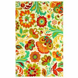 Shaw Living Al Fresco Floral Indoor/Outdoor Rug, 7 Feet 10 Inch by 10 Feet 6 Inch, Beige   Area Rugs