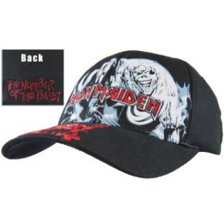 Iron Maiden   Mens Iron Maiden   Number Of The Beast Fitted Baseball Cap Black Clothing