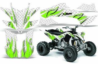 2009 2013 Yamaha YFZ450R & YFZ450X AMRRACING ATV Graphics Decal Kit Tribal Flame Green White Automotive