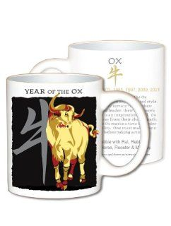 Asian Oriental Chinese Zodiac Coffee & Tea Mug Year of the Ox Birth Years 1913 1925 1937 1949 1961 1973 1985 1997 2009 Kitchen & Dining