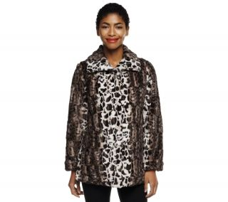 Dennis Basso Maxi Collar Leopard Print Faux Fur Jacket with Pockets —