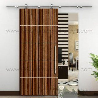 "78.7"" Modern Stainless Sliding Wood Barn Door Hardware Satin with 24"" Handle set"