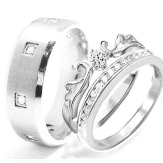 His & Hers 3 Pieces, STAINLESS STEEL Engagement Wedding Ring Set, AVAILABLE SIZES men's 7, 8, 9, 10, 11, 12; women's set 5, 6, 7, 8, 9, 10 CONTACT US BY EMAIL THROUGH  WITH SIZES AFTER PURCHASE His And Hers Wedding Ring Sets Jewelry