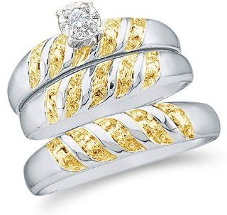 "10k White and Yellow 2 Two Tone Gold Mens and Ladies Couple His & Hers Trio 3 Three Ring Bridal Matching Engagement Wedding Ring Band Set   Round Diamonds   Solitaire Center Setting (.07 cttw)   SEE ""PRODUCT DESCRIPTION"" TO CHOOSE BOTH SIZES"