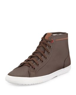 High Top Leather Sneaker, Dark Brown