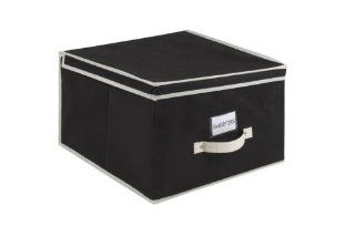 Kennedy Home Collection 5172 Jumbo Size Collapsible Storage Box, Black/Cream   Lidded Home Storage Bins