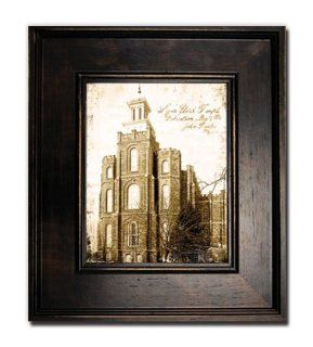 Antiqued Logan Temple Print  Large Black Frame  Perfect Wedding Gift, Christmas, Anniversary, Birthday, and House Warming Gift  Incourage Celestial Marriage  Mormon Temple  Home Decor  Framed Art  Help Children to Understand the Importance of the Temple  G