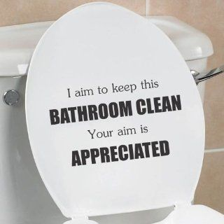 I aim to keep this bathroom clean your aim is appreciated funny toilet seat bathroom home vinyl decal sticker   Wall Decor Stickers
