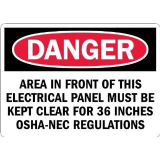 "SmartSign 3M Engineer Grade Reflective Label, Legend ""Danger Area Must be Kept Clear for 36 inches"", 7"" high x 10"" wide, Black/Red on White Industrial Warning Signs"