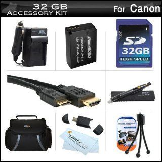 32GB Accessories Kit For The New Canon EOS SL1 DSLR, EOS M, EOS M Compact Systems Mirrorless Camera Includes 32GB High Speed SD Memory Card + Extended Replacement (1150Mah) For Canon LP E12 Battery + Ac/Dc Travel Charger + Mini HDMI Cable + Case + More  D