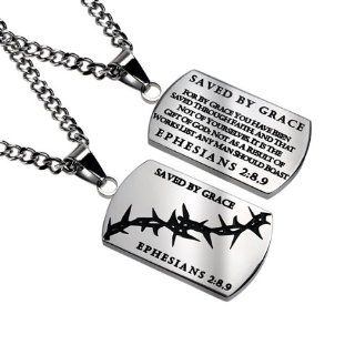 "Christian Mens Stainless Steel Abstinence ""Saved By Grace   For By Grace You Have Been Saved Through Faith; and That Not of Yourselves, It Is the Gift of God; Not As a Result of Works Lest Any Man Should Boast   Ephesians 28, 9"" Crown of Thorns"