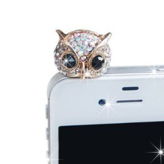 E.T. Cute High Quality Silver Owl Rhinestone 3.5 mm Earphone Jack Dust Plug iPhone 4/4S/5 ,Samsung S4 I9500/S3 I9300/S 2 I9200,iPad 2/Mini Cell Phones & Accessories
