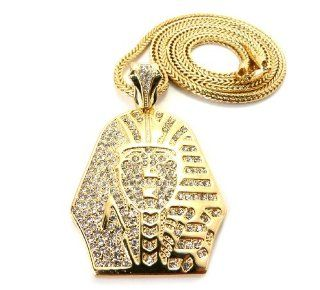 Gold Iced Out Pharaoh Pendant with a 36 Inch Franco Chain Necklace Jewelry