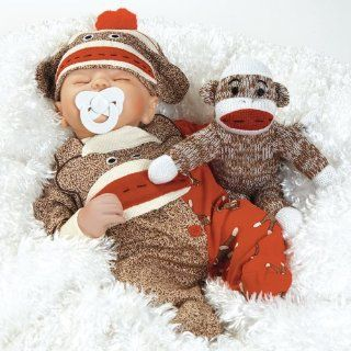Baby Doll that Looks Real, Sock Monkey Business 16 inch with Weighted Body  Paridise Dolls  Baby