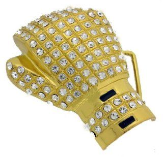 Iced Floyd Mayweather Boxing Gloves Belt Buckle Gold Tone
