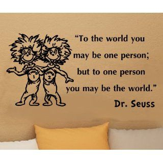 Dr Seuss Thing 1 Thing 2 to the World You May Be One Person Wall Quote Vinyl Wall Art Decal Sticker   Other Products