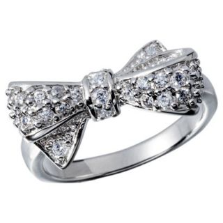 Cubic Zirconia Right Hand Ring with Bow   Silver
