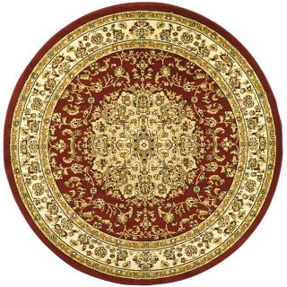 Lyndhurst Collection Red/ Ivory Polypropylene Rug (8 Round)
