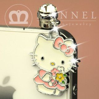 ip251 Cute Hello Kitty Holding Flowers Anti Dust Plug Cover Charm for iPhone 3.5mm Cell Phone Cell Phones & Accessories