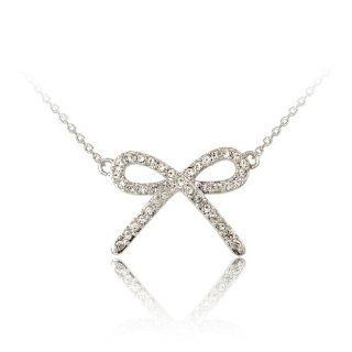 Fashion Plaza Silver Tone Bowknot with Clear Swarovski Crystal Pendant Necklace Chain N256 Jewelry