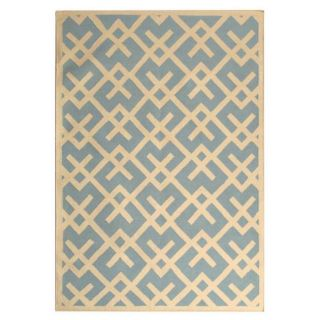Safavieh Hand woven Moroccan Dhurrie Light Blue/ Ivory Casual Wool Rug (4 X 6)
