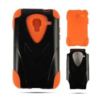 Orange Gel and Black Hybrid Kickstand Tough Protection Cover, Silicone & Hard Shell for Samsung Admire r820 Cell Phones & Accessories